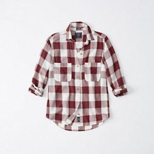 Abercrombie drapey button-up shirt - red